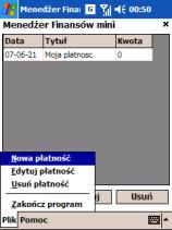 Zarządzanie Budżet Domowy na PocketPC, ekran 1